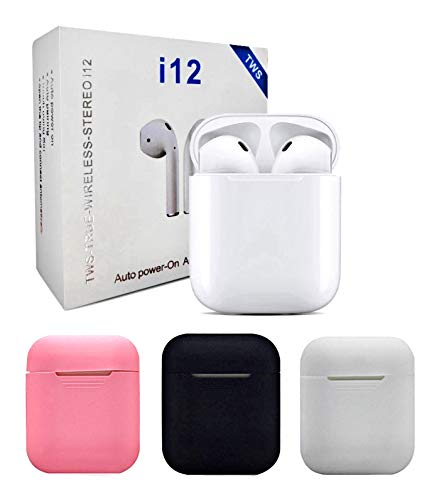 Wireless earplug Bluetooth 5.0 Headset pop-up with Microphone handsfree Touch Headset, White