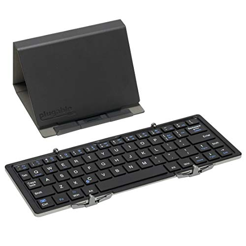Plugable Bluetooth Keyboard Compatible with iPhones, iPads, Android, and Windows, Ultra-Light Bluetooth Foldable Keyboard (10 Inches) with Case and Stand for Faster Typing and Editing on The Go