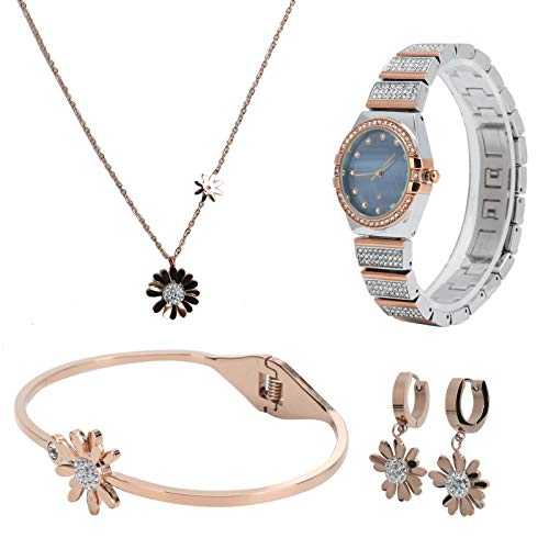 SALUTUYA Jewelry Set Titanium Steel Women Jewelry Set,for Women Girls(Rose gold)