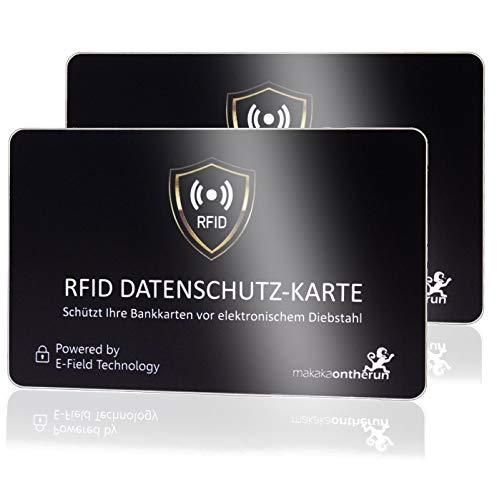 DEKRA geprüfte RFID Blocker Karte (MakakaOnTheRun, 2 STK): RFID Schutz 3fach geprüft, neueste NFC Technologie, stärkste RFID Blocker Karte mit Störsender, bis 9cm Schutz. Bekannt aus TV & Radio!