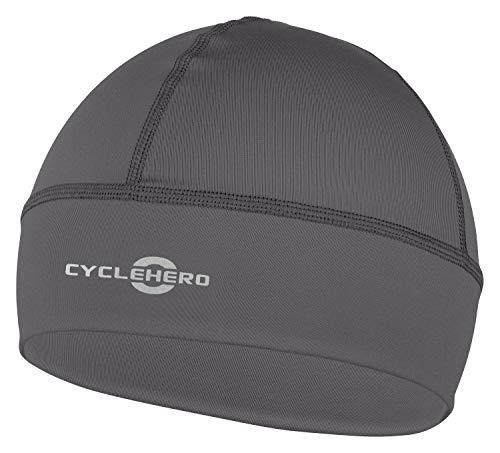 CYCLEHERO Helmmütze Winddicht (grau, L-XXL) - wasserdichte Herren und Damen Fahrrad Mütze für unter den Fahrradhelm