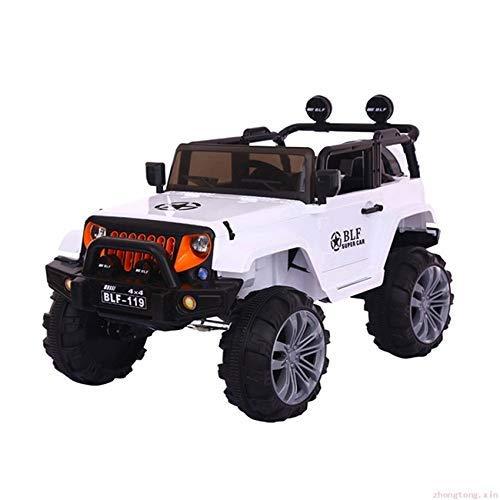 WGFGXQ Vierrad-Elektroauto für Kinder, weißes ferngesteuertes Auto, Zweisitzer-Jeep, elektrischer Offroad-Allradantrieb, wiederaufladbares Kinderwagenauto, Kinderspielzeug/Geb