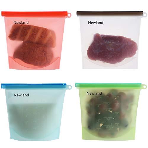 Newland Silicone Kochbeutel Food Grade Vielseitige Konservierung Tasche für Obst Gemüse Fleisch Set von 4, Zum Kochen, Wiederverwendbare Silikon-Lebensmitteltasche Einfrieren und Konservieren