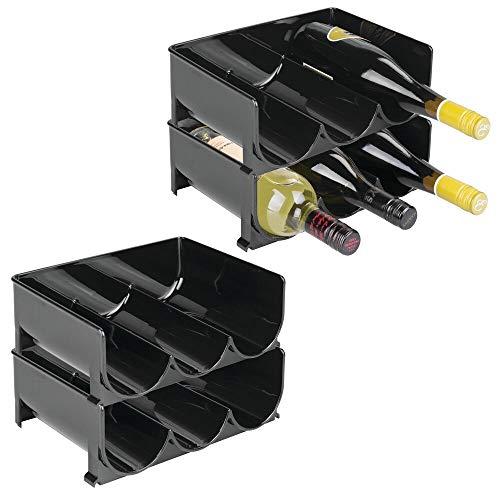 mDesign Juego de 8 botelleros de Vino con Asas – Estantes para vinos prácticos para la Cocina – Botellero para el frigorífico de plástico Libre de BPA – Negro
