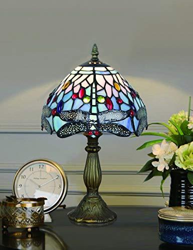 8 Pulgadas Blue Bead Dragonfly Pastoral Antique Luxury Style Hecho a mano Lámpara de mesa de vidrio Mesita de noche Habitación de niños Luz for niños