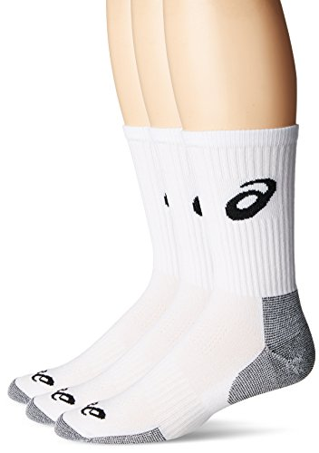 ASICS Game Crew Socken, 3 Stück, Herren Damen Jungen Mädchen, weiß/schwarz, Medium