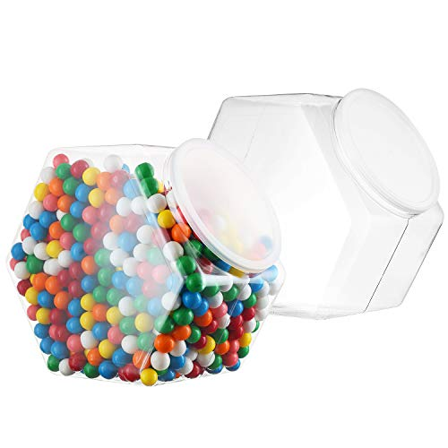 Pack of 2-1 Gallon Cookie Containers With Lids – Plastic Clear Candy Container - Kitchen Countertop Jars - Wide Mouth Opening For Easy Refill - Great For Homemade Cookies, Cakes, Food Safe