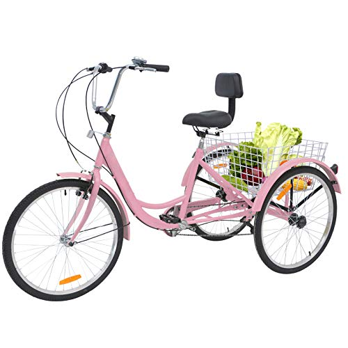 Barbella Adult Tricycle, 24-Inch Single and 7 Speed Three-Wheeled Cruise Bike with Large Size Basket for Recreation, Shopping, Exercise Men's Women's Bike (Light Pink)