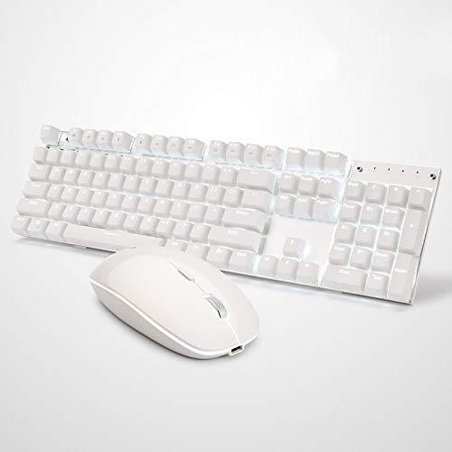 XIUYU Computertastatur Zubehör, A3008 Laptop-Computer Büro Gaming Drahtlose Mechanische Tastatur-Maus-Set (Farbe: Schwarz) (Farbe: weiß)