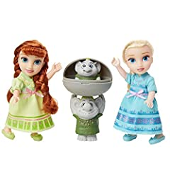 Perfectly petite in size, these dolls can travel with you anywhere! Gift them to someone who loves Disney's Frozen and watch their imagination soar! Dolls feature adorable blue and green nightgowns and shoes and are articulated at five points, neck, ...