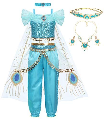 AmzBarley Nia Aladdin Princesa Disfraz Jazmn Tops Pantalones Traje Cosplay Actuacin Carnaval Navidad Regalo Cumpleaos Danza Vientre