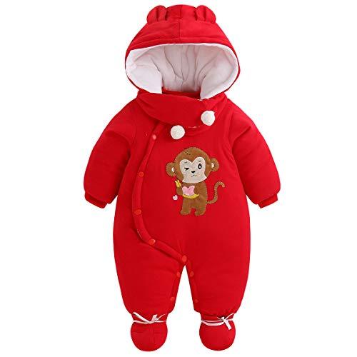 Baby sneeuwpakken set, winter overall + capuchon + sjaal + voetjes unisex romper carikatuur outfit 3-18 maanden 6-9 Monate rood