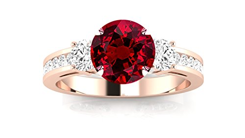 14K Rose Gold Channel Set 3 Three Stone Diamond Engagement Ring with a 0.5 Carat Ruby Heirloom Quality Center