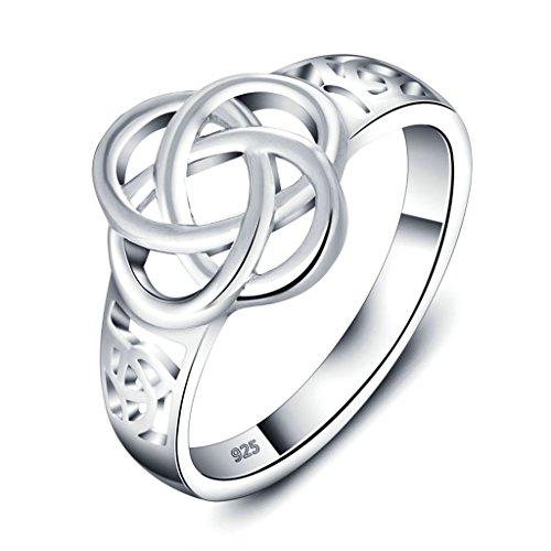 Daesar Silber Damen Ring Keltische Knoten Ewigkeit Hochzeitsband Aushöhlung 12MM Größe:52 (16.6)