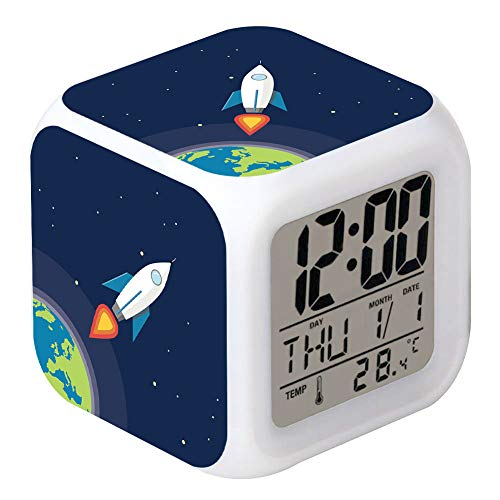 Cointone LED Alarm Clock Rocket Space Pattern Creative Desk Table Clock Glowing Electronic Colorful Digital Clock for Unisex Adults Girl Boy Kids Children Toy Birthday Present Gift