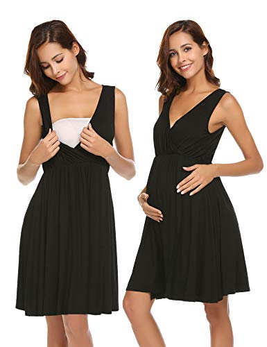 Ekouaer 3 in 1 Sleeveless Nursing Nightgown Delivery Labor Pregnancy Gown Maternity Nightgown for Hospital Sleepwear Nightdress for Breastfeeding Black M