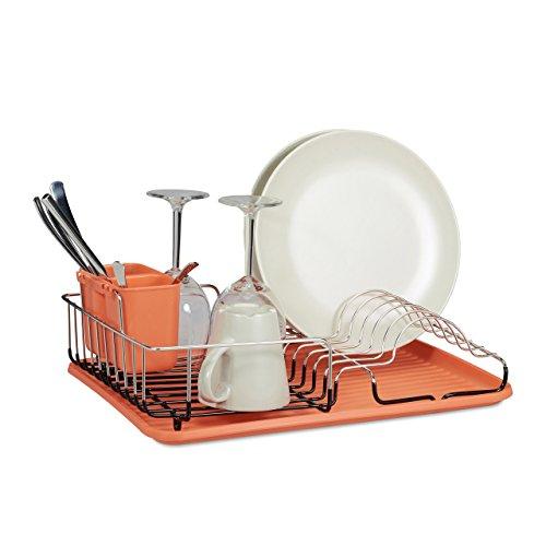 Relaxdays Egouttoir à vaisselle en inox avec porte-couverts et bac orange HxlxP: 15 x 42,5 x 32,5 cm, orange