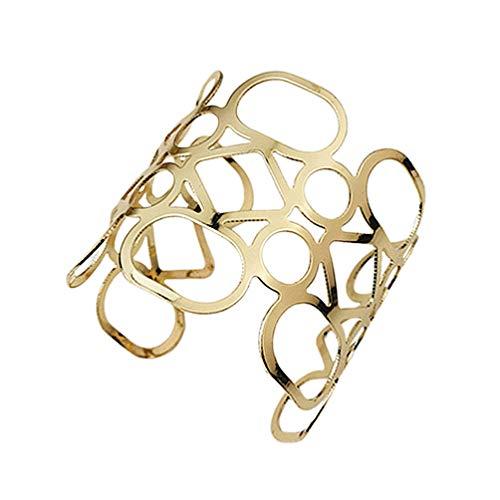 TENDYCOCO Metall Hohle Manschette Armreif Beschichtung golden weit geöffnete Armbänder Arm Handgelenk Manschette Dekor für Frauen Männer Cosplay Bauchtanz