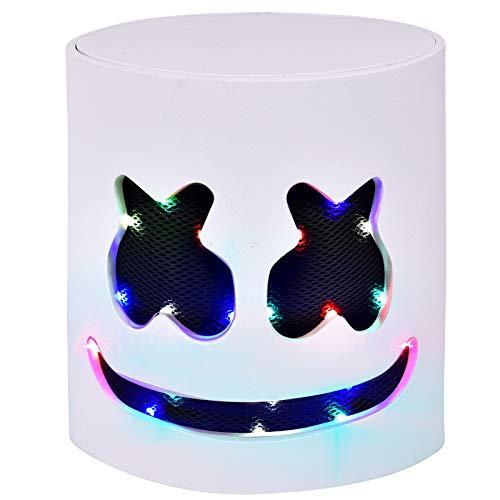 LED DJ Mask - Music Festival Full Head Helmet Light Up Cosplay Mask for Halloween Party Thanksgiving Christmas