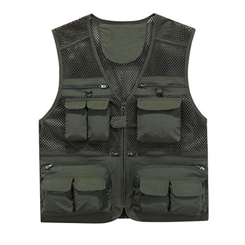 Auart Angelwesten Multi Taschen Perforierte Mesh-Breathable Journalist Fotograf Fishing Vest for Männer Frauen (Color : Green, Size : M)