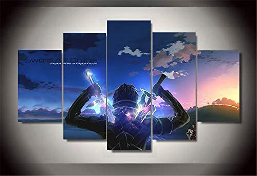 Whian 5 Stück/Set Comic-Anime DIY Art Ölgemälde Auf Leinwandbild Kunstdruck Wandbild Für Home Office Dekorationen Sword Art Online 80/60/40x30CM Frameless