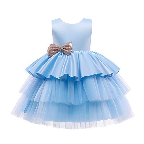 TTYAOVO Mädchen Tüll Geburtstagsfeier Prinzessin Tutu Pailletten Schleife Kleid Ballkleid Größe(110) 3-4 Jahre 730 Blau