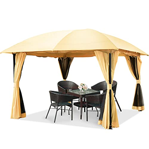 Quictent 12x12ft Outdoor Gazebo for Patios,Gazebo with Mosquito Netting and Curtains,Dome Soft Top Gazebo for Patios,Deck and Backyard (Begie)