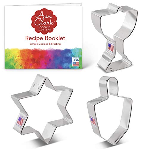 Ann Clark Cookie Cutters 3-Piece Hanukkah Cookie Cutter Set with Recipe Booklet, Star of David, Dreidel and Menorah