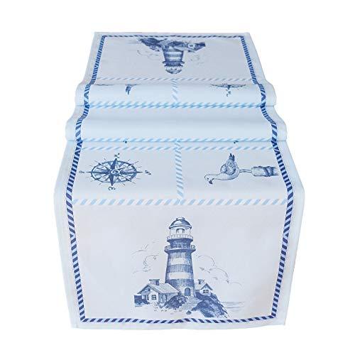 heimtexland ® Esszimmer Serie Maritim Tischdecke Sylt Tisch Dekoration Leuchtturm Blau Tischläufer 40x140 Typ684