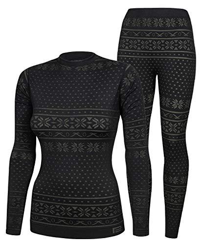 Prosske Damen Seamless Funktionsunterwäsche Thermo Snowflake Set Thermounterwäsche Skiunterwäsche Atmungsaktiv (schwarz-grau, L/XL)