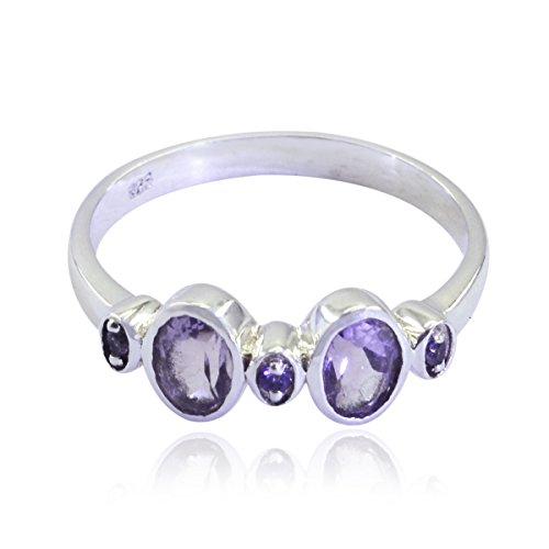 bella gemma ovale sfaccettata anello ametista - argento 925 ametista viola bella pietra preziosa anello - gioielli per bambini regalo più grande venditore per anello di pietra grezza festa -It