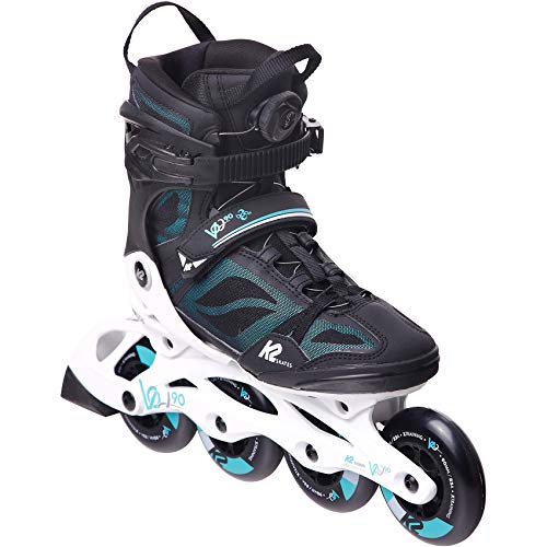 K2 Skates Damen Inline Skate VO2 90 Boa W — black - turquoise — EU: 37 (UK: 4.5 / US: 7) — 30E0881