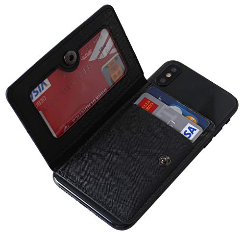 CHEAPSUNDAY ID 카드 홀더를 위해 다시 휴대 전화 가죽 전화 지갑에 지팡이와 대 손가락으로 튀김 가죽 방수 접착 지갑에 대한 대부분의 핸드폰(블랙)