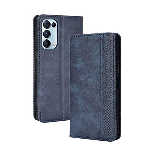LEYAN Leder Folio Hülle für Oppo Find X3 Lite, Lederhülle Brieftasche Mit Kartensteckplätzen, Premium Flip PU/TPU Handyhülle Schutzhülle Hülle Cover mit Ständer Funktion (Blau)