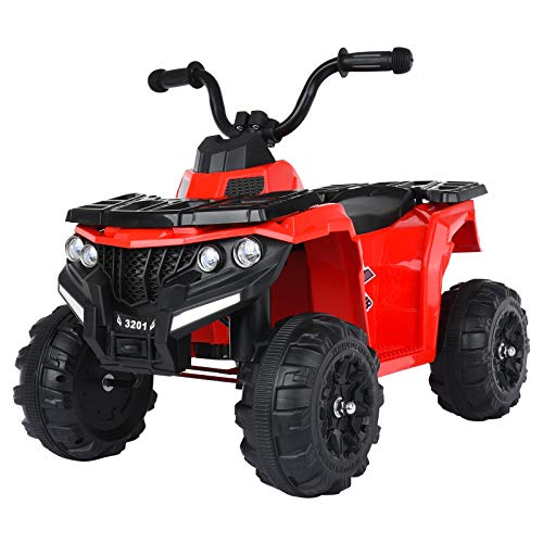 6v Battery Powered Kids Electric Vehicle, 4 Wheeler W/Headlights, Music, Volume Control, Large Seat, Electric Ride on Toys for Boys& Girl (UK 3-5 Day,Red)
