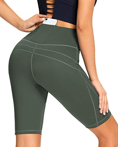 AS ROSE RICH Workout Shorts for Women with 3 Pockets High Waist Spandex Yoga Biker Shorts...