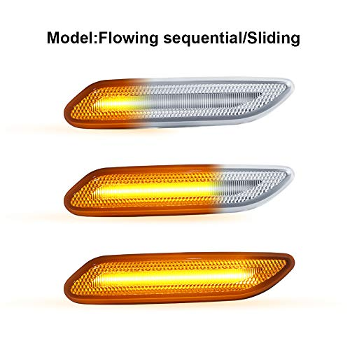 Gempro 2Pcs Clear Lens LED Front Fender Side Marker Turn Signal Light Assembly For 2011-2016 MINI Cooper R60 Countryman R61 Paceman, Replace OEM Sidemarker Lamp