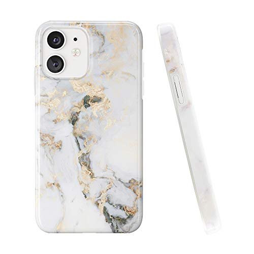 Obbii Case Compatible with iPhone 12 Mini 5.4 inch 2020 Protective Case White Golden Marble Slim Soft TPU Silicone Shockproof Bumper Cover Compatible iPhone 12 Mini (5.4 inch)