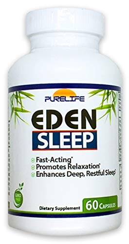 PureLife Eden Sleep Support – Fall Asleep Faster, Relax Your Muscles, Promote Deep and Restful Sleep – by Purelife (60 Capsules)