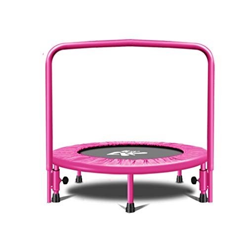 YSDHE Kindertrampolin (pink) Fitness-Trampolin für Erwachsene, Innenbereich, mit Armlehnen, Kinder-Sprungbett