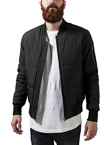 Urban Classics Herren Basic Quilt Bomber Jacket Jacke, Schwarz (Black 7), Medium