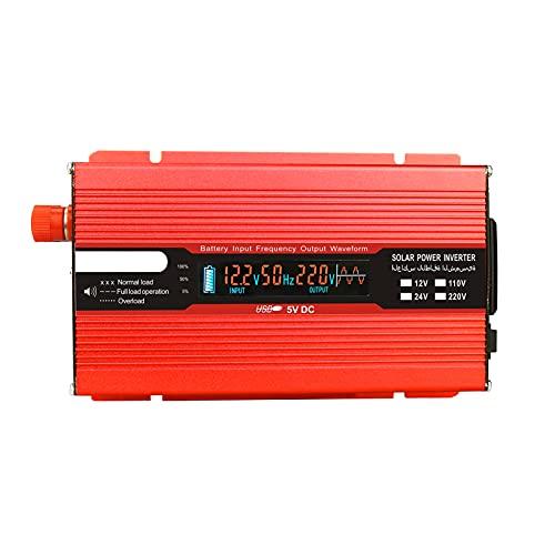 Moniel Convertidor de voltaje 1000W 2000W 12V 240V Inversor Inversor de corriente USB con 1 enchufe y pantalla LCD