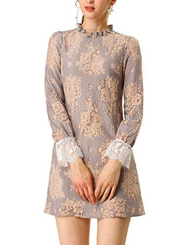Allegra K Women's Ruffle Crew Neck Formal Elegant Mini Floral Lace Dress Grey Pink M (US 10)