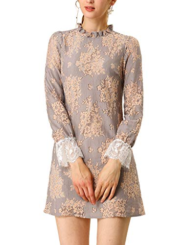 Allegra K Women's Ruffle Crew Neck Formal Elegant Mini Floral Lace Dress Grey Pink M (US 10)