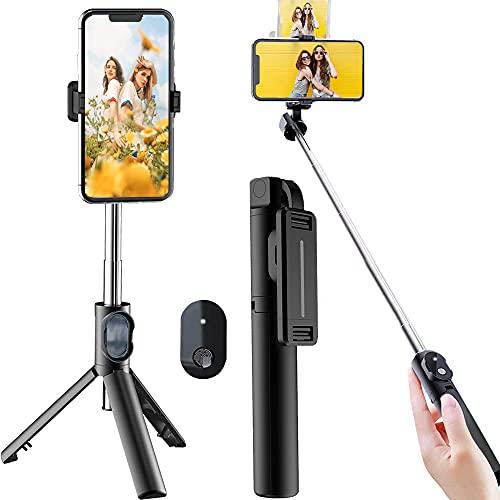 【2021最新版】自撮り棒 Bluetooth セルカ棒リモコン付き 軽量 コンパクト 三脚/一脚兼用 360度回転伸縮自在/無線操縦/携帯に便利だ/iPhoneX iPhone12 iPhone11 iPhone/Android