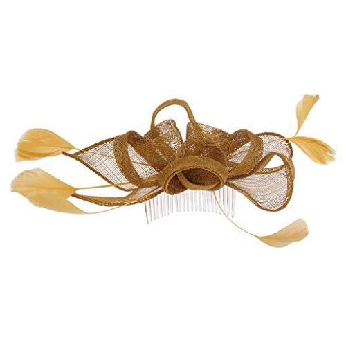 Fenteer Damen Braut Feder Fascinator Haarschmuck Haarnadel Haarkamm Schmuck Cocktailparty Hut Kopfbedeckung - Gold