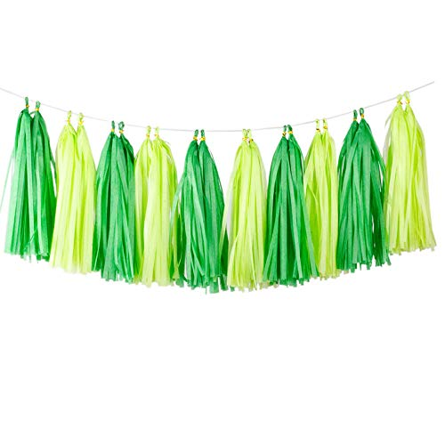 Aimto 20pcs Lime Green and Dark Green Shiny Tassel Garland Banner Tissue Paper Tassels for St. Paul's Party Decorations