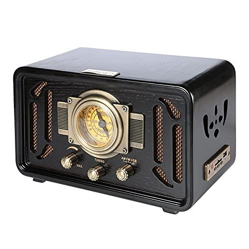 Altavoz Retro Bluetooth, Altavoz Bluetooth, Altavoz Inalámbrico Portátil,Aurtec Bluetooth 4.2, Altavoz Estéreo De Audio para El Hogar con Sonido Potente Y Subwoofer (Color : Black)