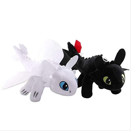 Kshong 2 Piezas 35 cm cómo Entrenar a tu dragón 3 Dibujos Animados de Anime Negro / Blanco sin Dientes Furia Nocturna periférica muñecos de Peluche Juguetes Regalo de cumpleaños para niños