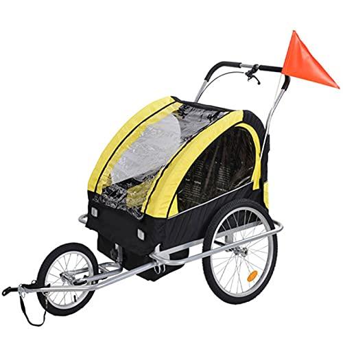 HXXXIN Remolque para Bicicletas Remolque para Niños Coche para Niños Multifuncional Dos En Uno para Exteriores 140X92X90CM Coche para Equipaje De Bicicleta,Amarillo